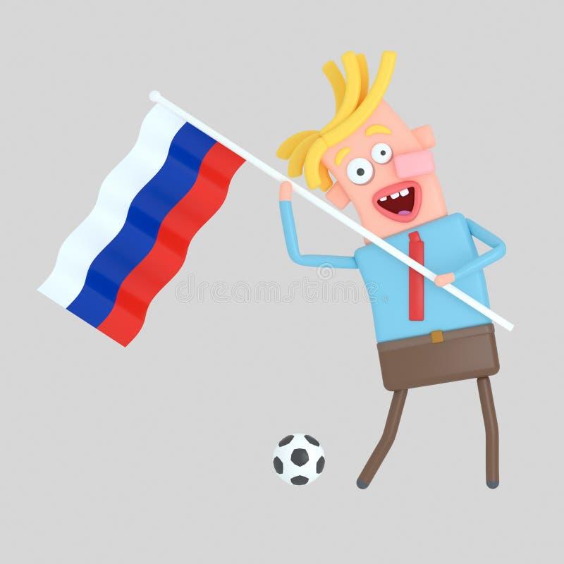 Man som rymmer en flagga av Ryssland illustration 3d royaltyfri illustrationer