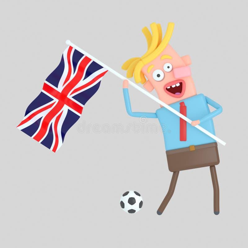 Man som rymmer en flagga av UK illustration 3d vektor illustrationer