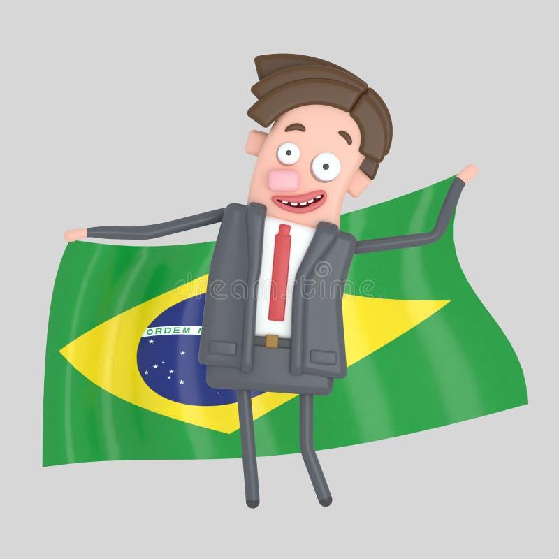 Man som rymmer en stor flagga av Brasilien illustration 3d stock illustrationer