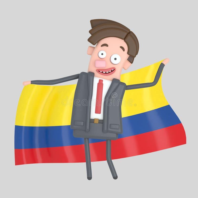 Man som rymmer en stor flagga av Colombia illustration 3d royaltyfri illustrationer