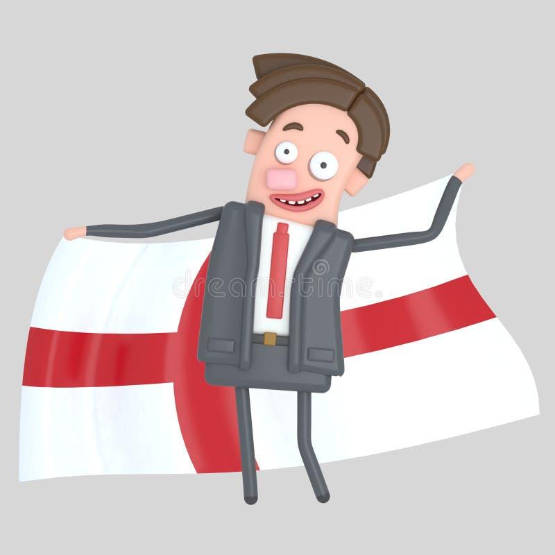 Man som rymmer en stor flagga av England illustration 3d stock illustrationer