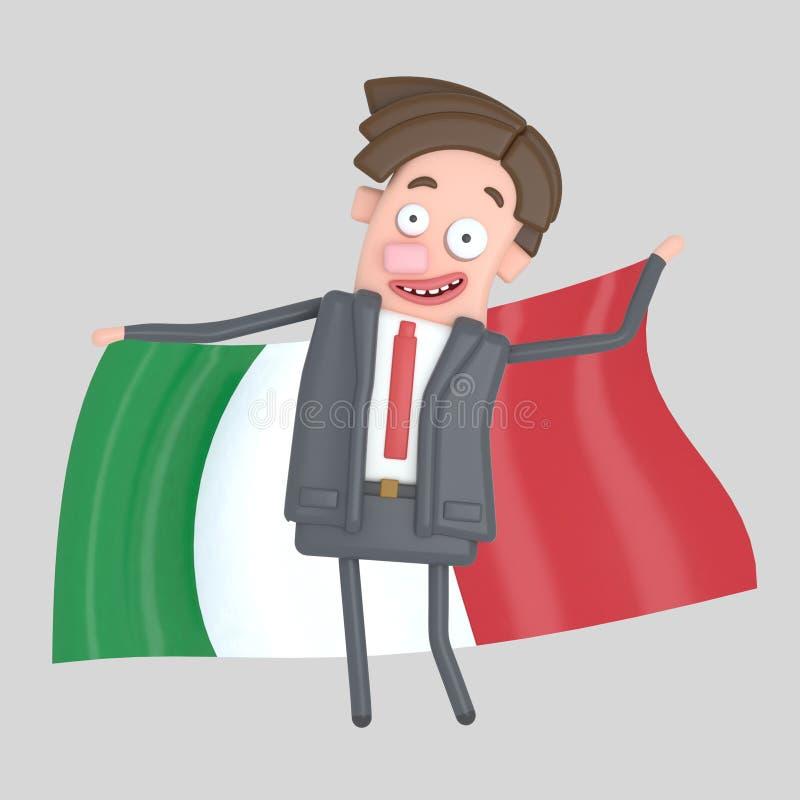 Man som rymmer en stor flagga av Italien illustration 3d stock illustrationer