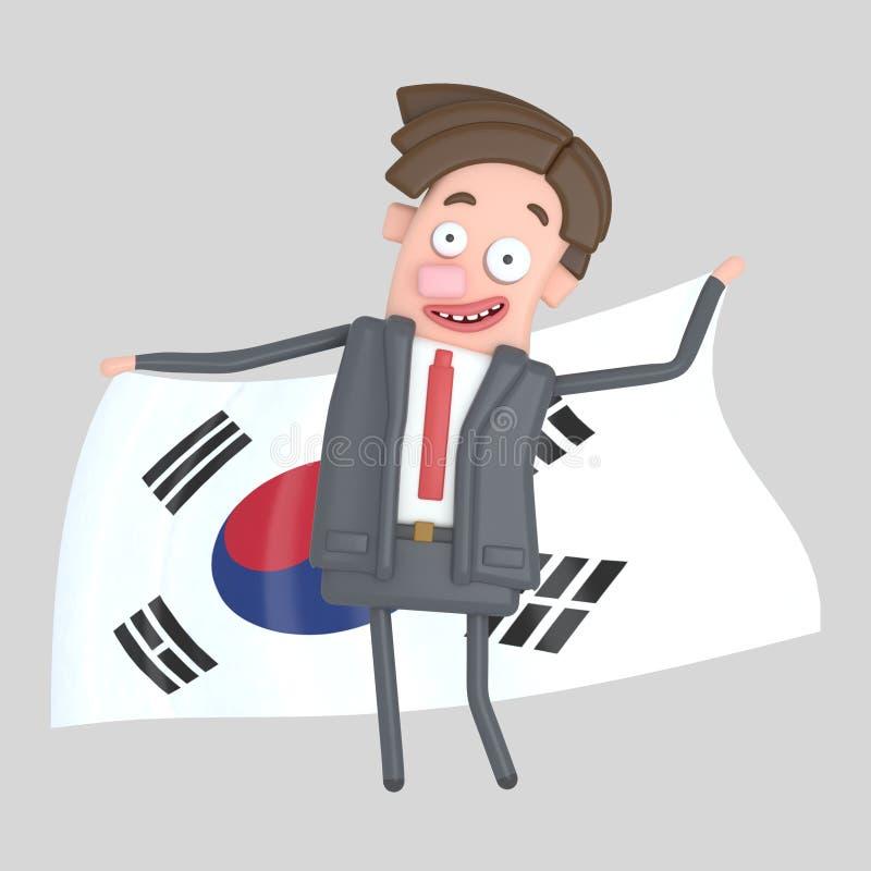 Man som rymmer en stor flagga av Koprea illustration 3d stock illustrationer