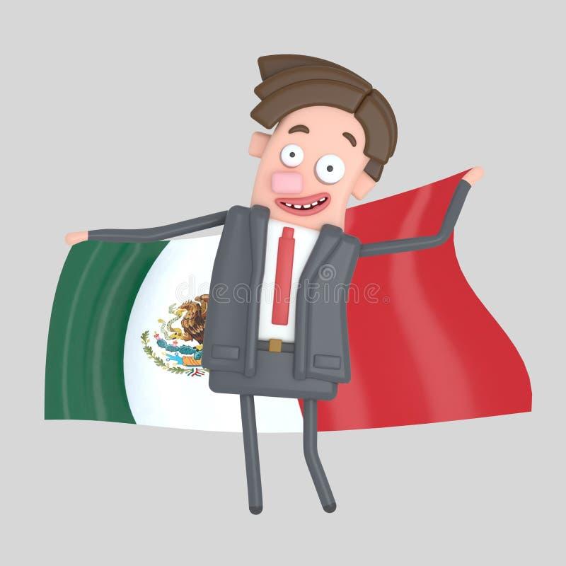 Man som rymmer en stor flagga av Mexico illustration 3d stock illustrationer
