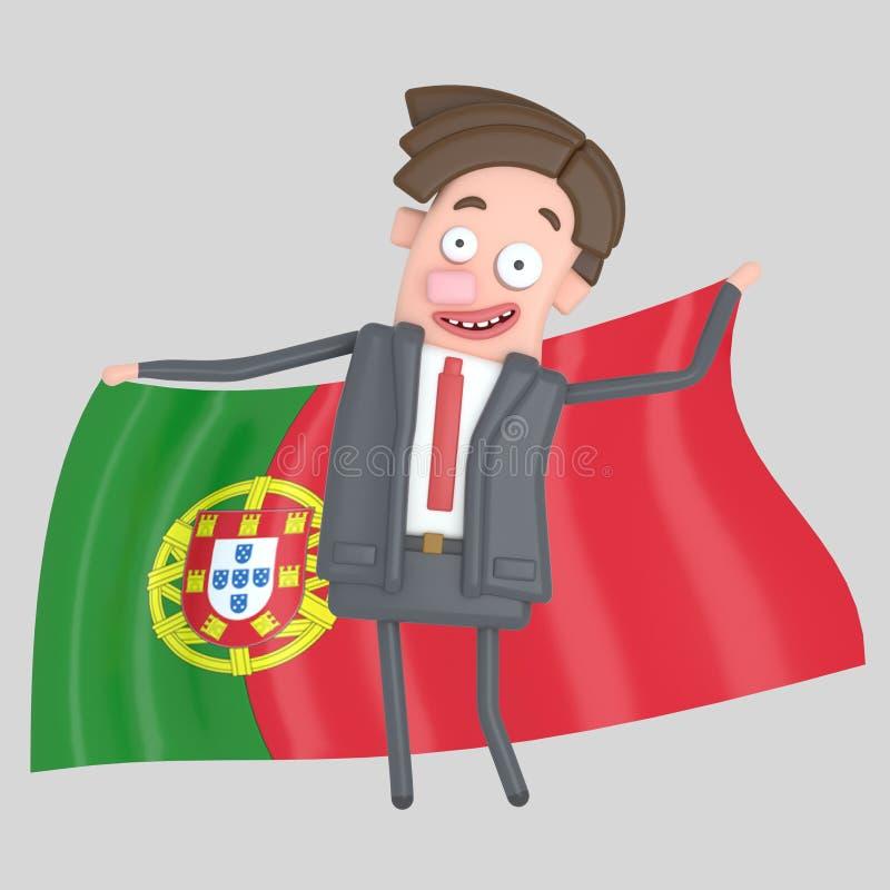 Man som rymmer en stor flagga av Portugal illustration 3d stock illustrationer