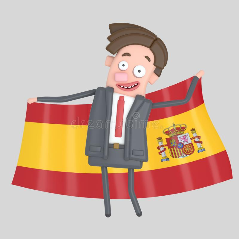Man som rymmer en stor flagga av Spanien illustration 3d stock illustrationer