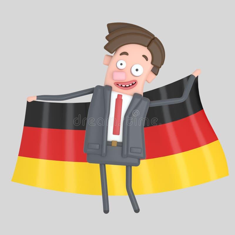 Man som rymmer en stor flagga av Tyskland illustration 3d stock illustrationer