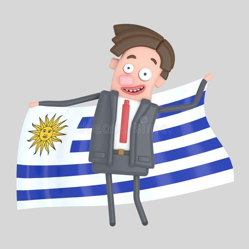 Man som rymmer en stor flagga av Uruguay illustration 3d royaltyfri illustrationer