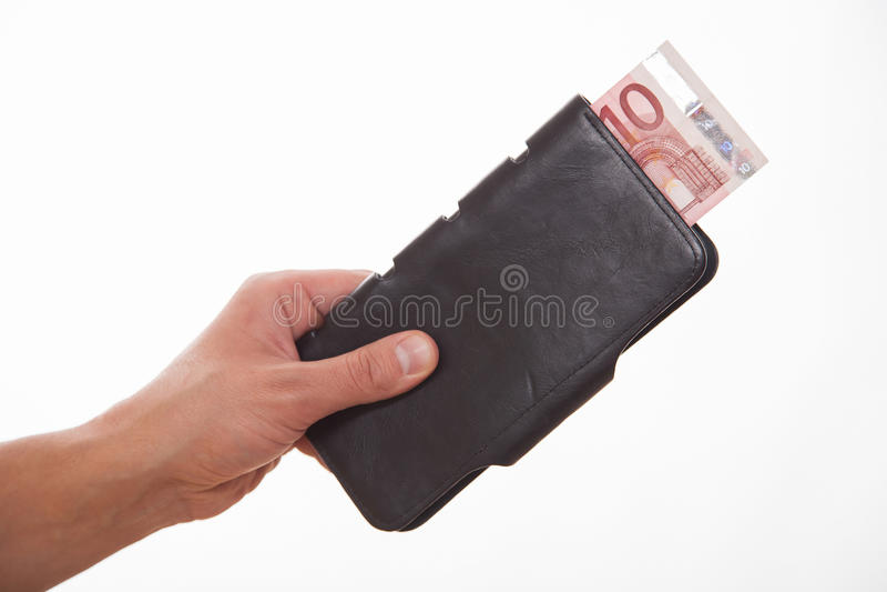Man som rymmer en svart handväska med euro tio royaltyfria bilder