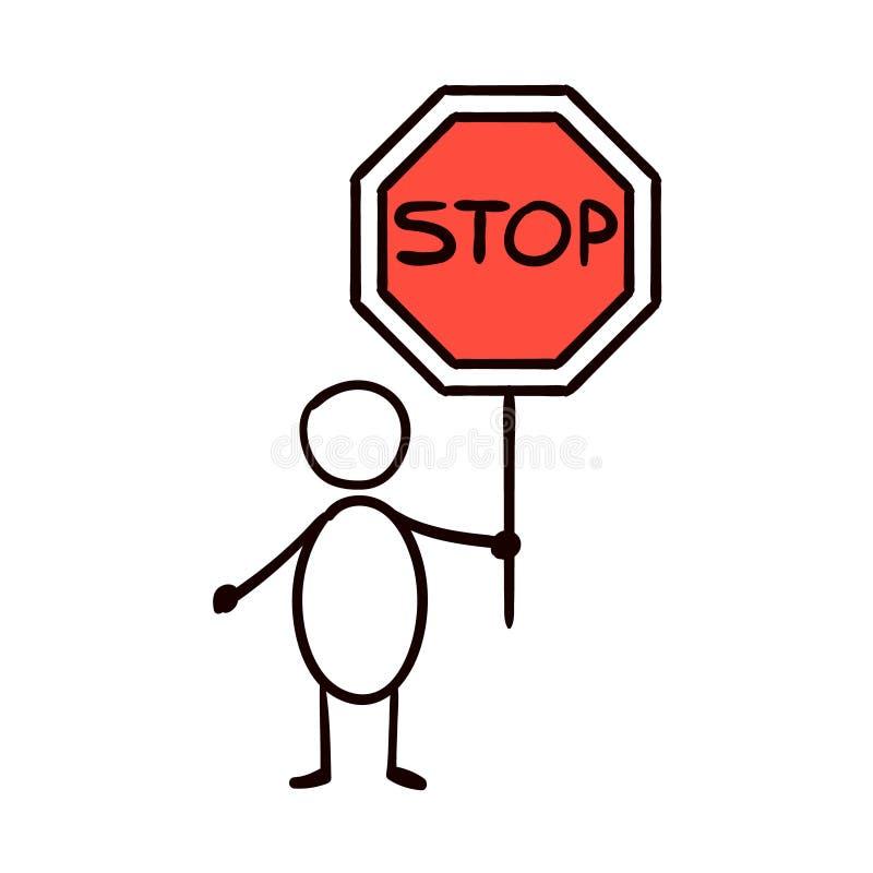 Man som rymmer ett stopp för trafiktecken, vektor stock illustrationer