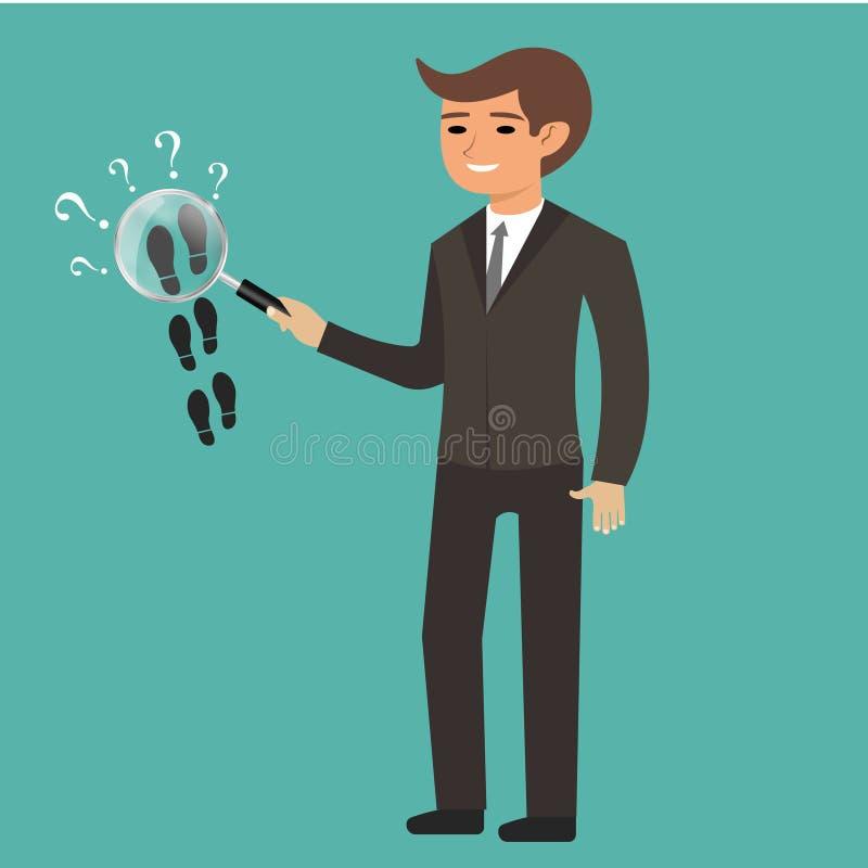 Man som rymmer förstoringsglaset i hand Privat kriminalare Följ något nära Detektiv- förstoringsglas Detektiv- contro stock illustrationer