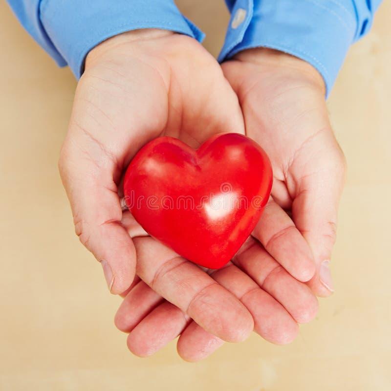 Man som rymmer röd hjärta i hans händer royaltyfri fotografi
