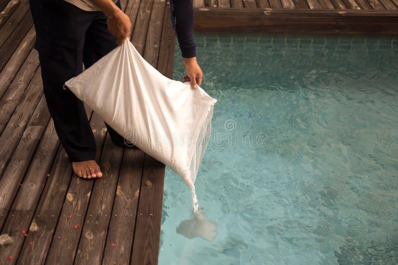 Man som sätter den salta chlorinatoren för behandlingvatten i simningbajs royaltyfria bilder
