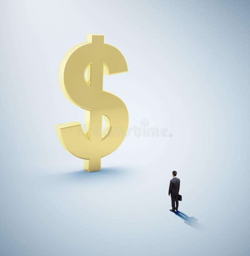 Man som ser dollaren royaltyfri foto