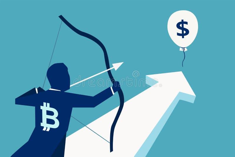 Man som siktar på ballongen med dollaren vektor illustrationer