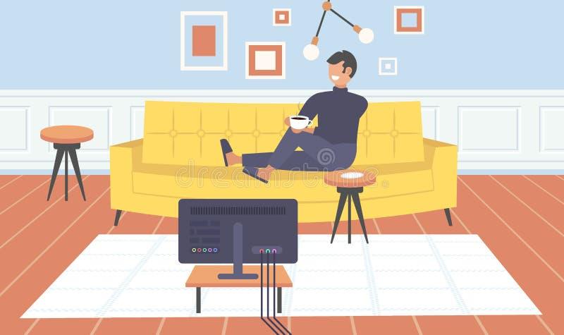 Man som sitter på den hållande ögonen på tvgrabben för soffa som dricker kaffe som har den inre hem- moderna lägenheten för rolig royaltyfri illustrationer