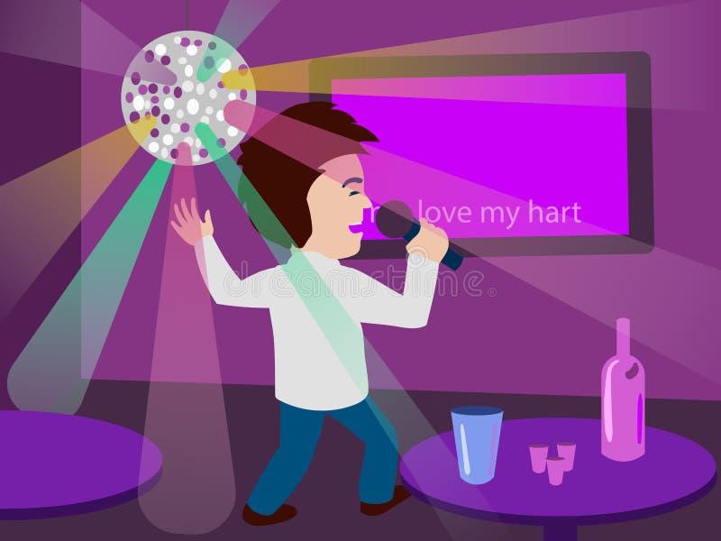 Man som sjunger på illustrationen för karaokestångvektor stock illustrationer
