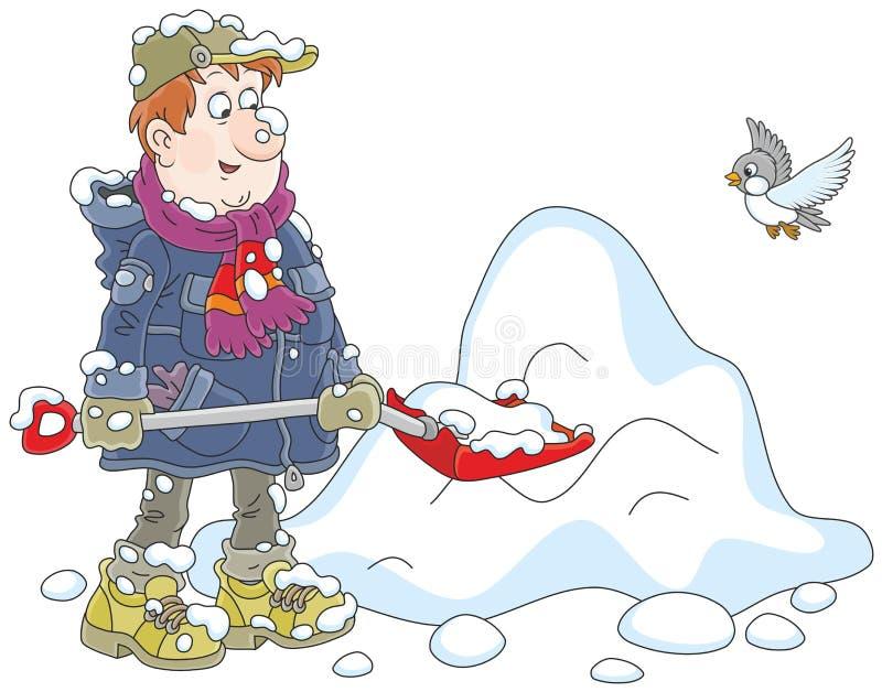 man som skyfflar snow stock illustrationer