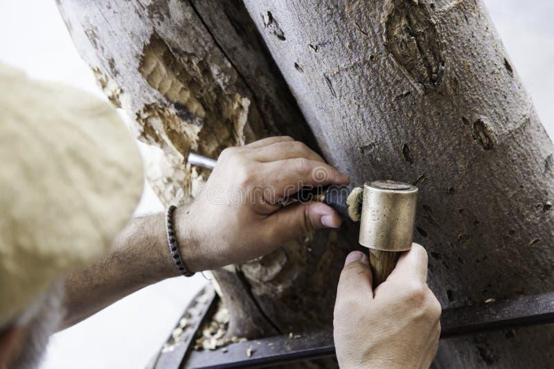 Man som snider trä fotografering för bildbyråer