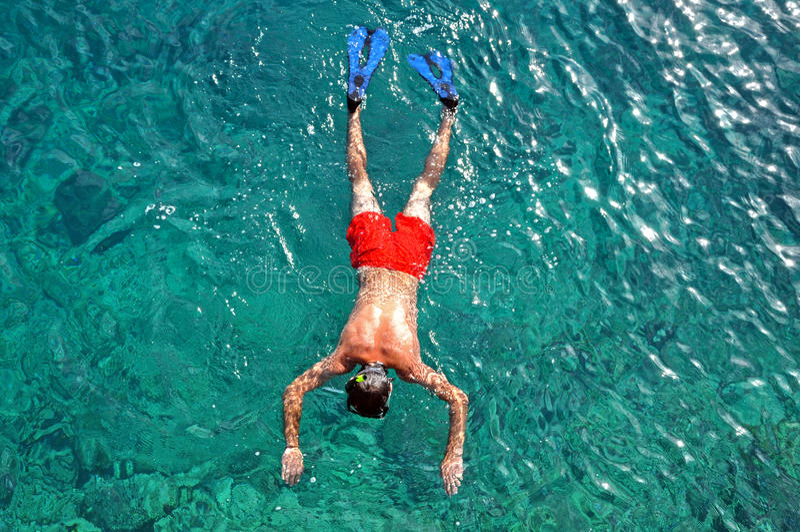 Man som snorklar i havet arkivbild