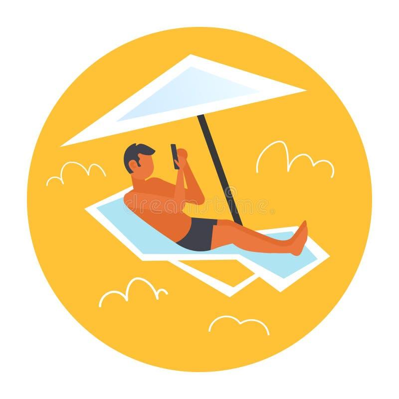 Man som solbadar grabben i swimwear genom att använda smartphonen som ligger på soldagdrivare under man för begrepp för paraplyso stock illustrationer