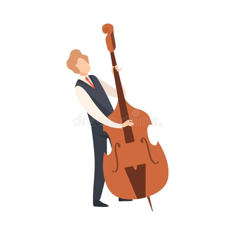 Man som spelar basfiolen, man Jazz Musician Character i elegant kläder med musikinstrumentvektorillustrationen royaltyfri illustrationer