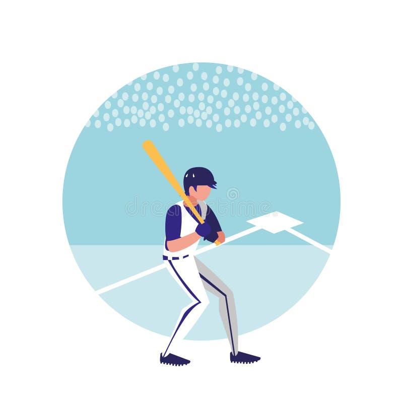 Man som spelar den baseball isolerade symbolen royaltyfri illustrationer