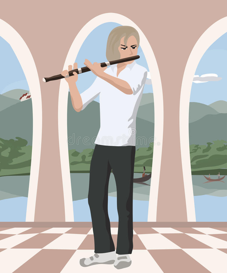 Man som spelar flöjten på den romantiska korridoren stock illustrationer