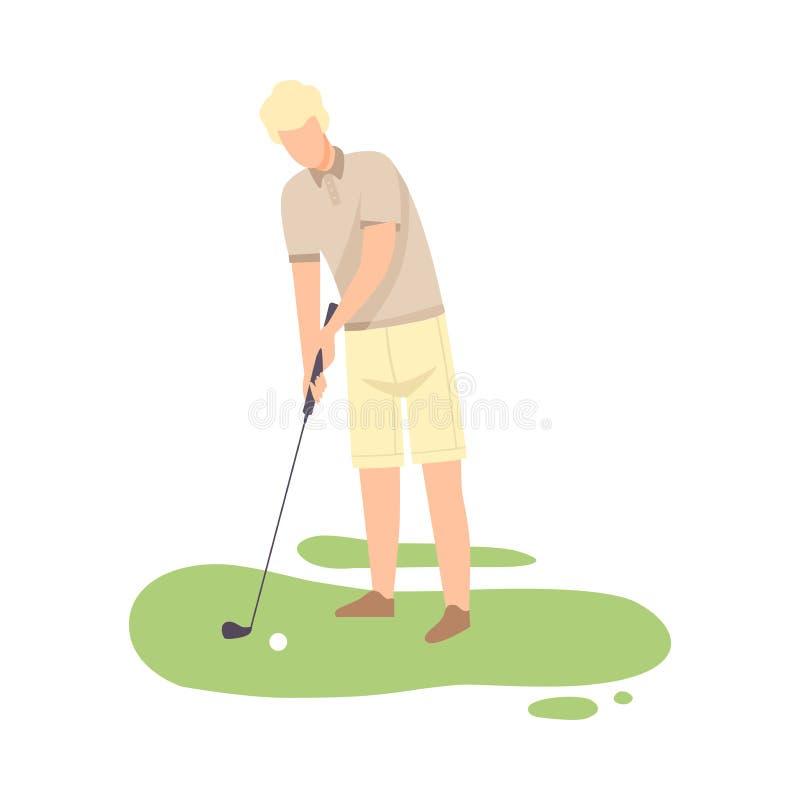 Man som spelar golf, manlig golfareutbildning med Golf Club på kurs med grönt gräs, den utomhus- sporten eller hobbyvektorn vektor illustrationer