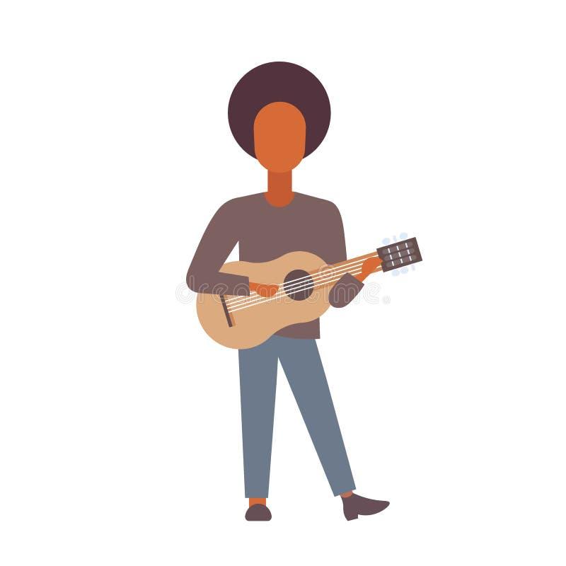 Man som spelar teckenet för tecknad film för akustiskt klassiskt för gitarrafrikansk amerikanhipster för gitarrist för musik begr royaltyfri illustrationer