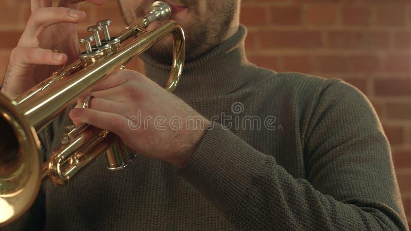 Man som spelar trumpeten royaltyfri foto