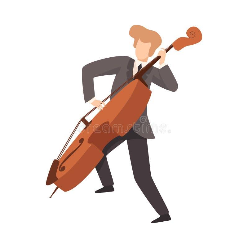 Man som spelar violoncellen, manlig musiker Contrabassist Character i elegant dräkt med musikinstrumentvektorillustrationen royaltyfri illustrationer