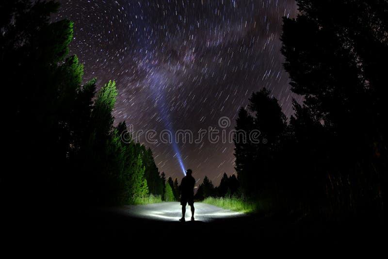Man som står i mörka stjärnor med ficklampan Forest Night Sky royaltyfria bilder