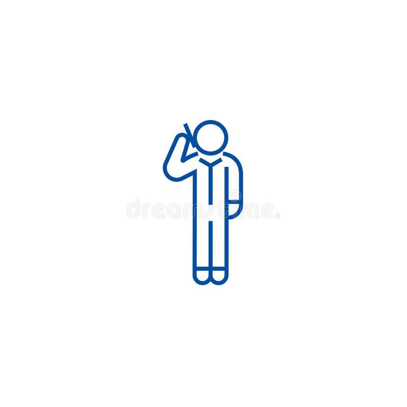 Man som stannar till smartphonelinjen symbolsbegrepp Man som stannar till smartphonen plant vektorsymbol, tecken, översiktsillust stock illustrationer