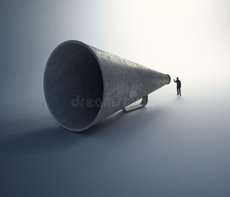 Man som talar till och med en tappningmegafon royaltyfri foto