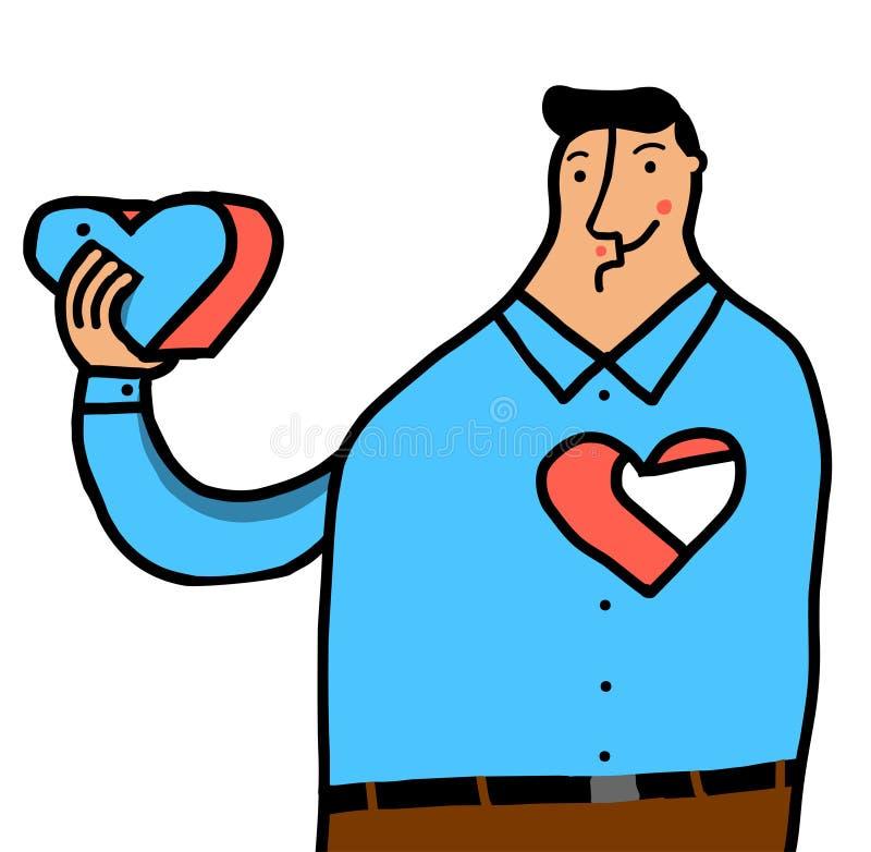 Man som tar bort hjärta stock illustrationer