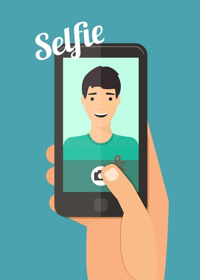 Man som tar selfie vektor illustrationer