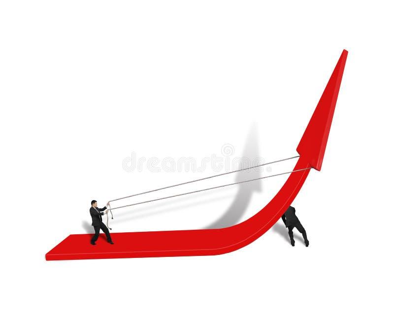 Man som två försöker att stiga röd pil upp stock illustrationer