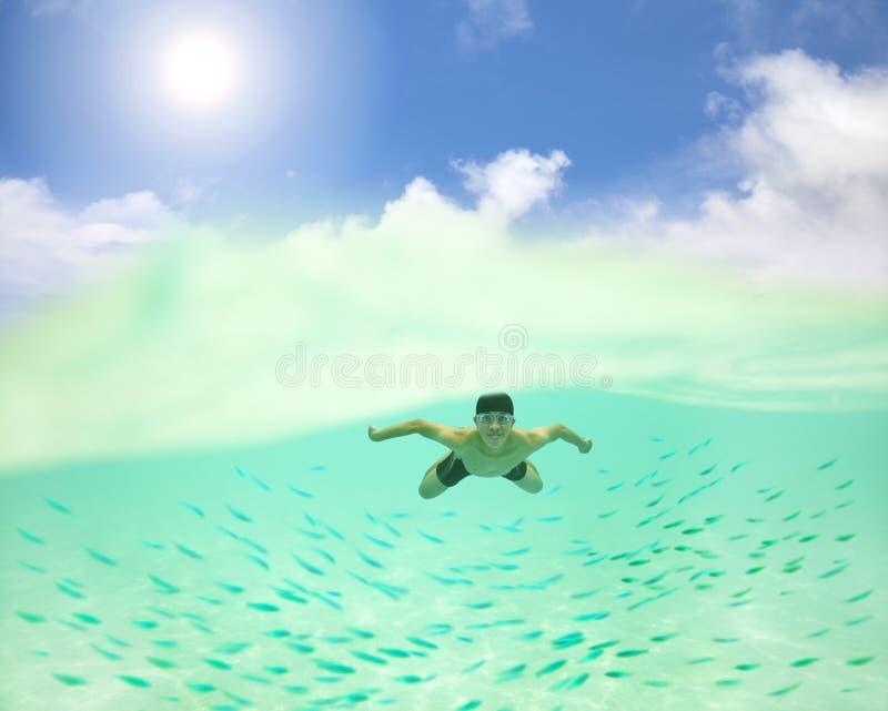 man som undersea simmar med fiskar royaltyfri fotografi