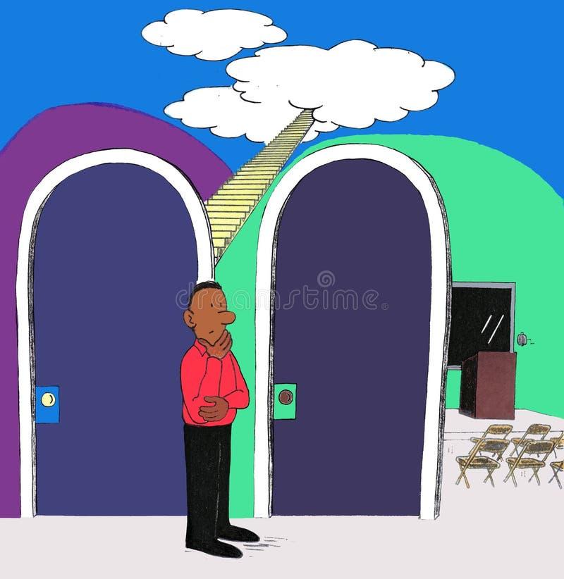 Man som väljer mellan himmel eller en föreläsning på den vektor illustrationer