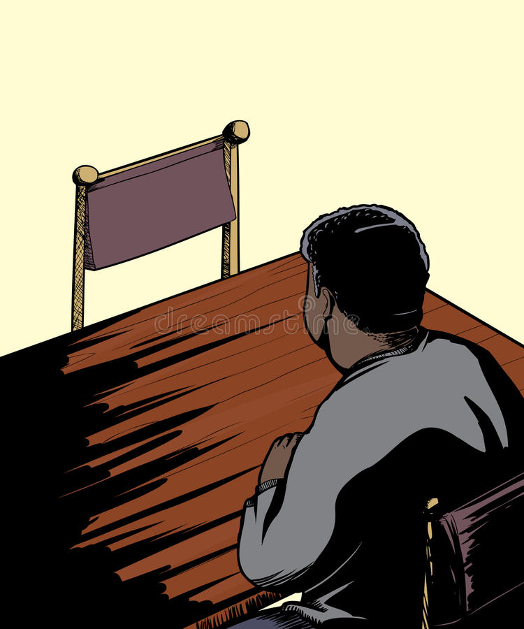 Man som vänder mot tom stol på tabellen royaltyfri illustrationer