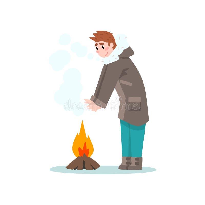 Man som värme hans händer vid branden, utomhus- fritid, extremal isvinter som fiskar vektorillustrationen stock illustrationer