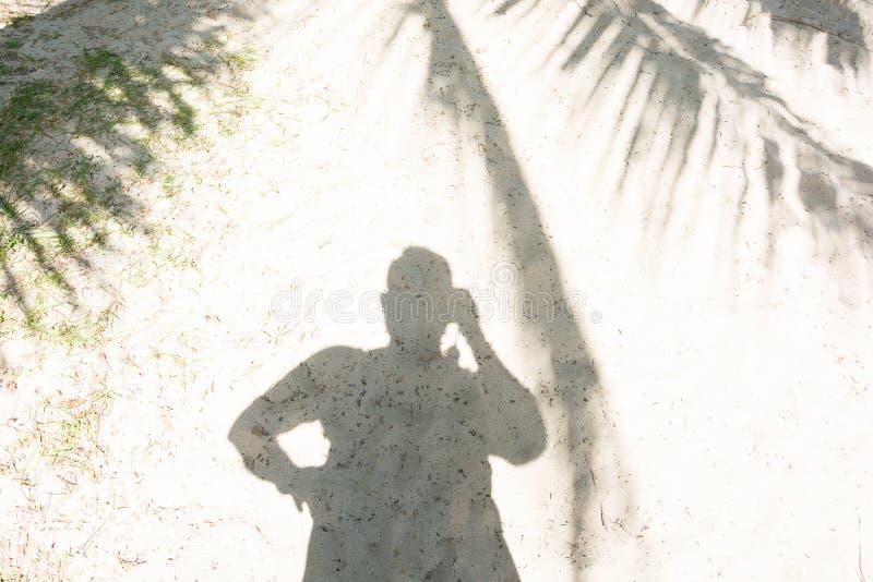 Man& x27; sombra de s na máscara de palmeiras do coco na praia no dia ensolarado fotografia de stock