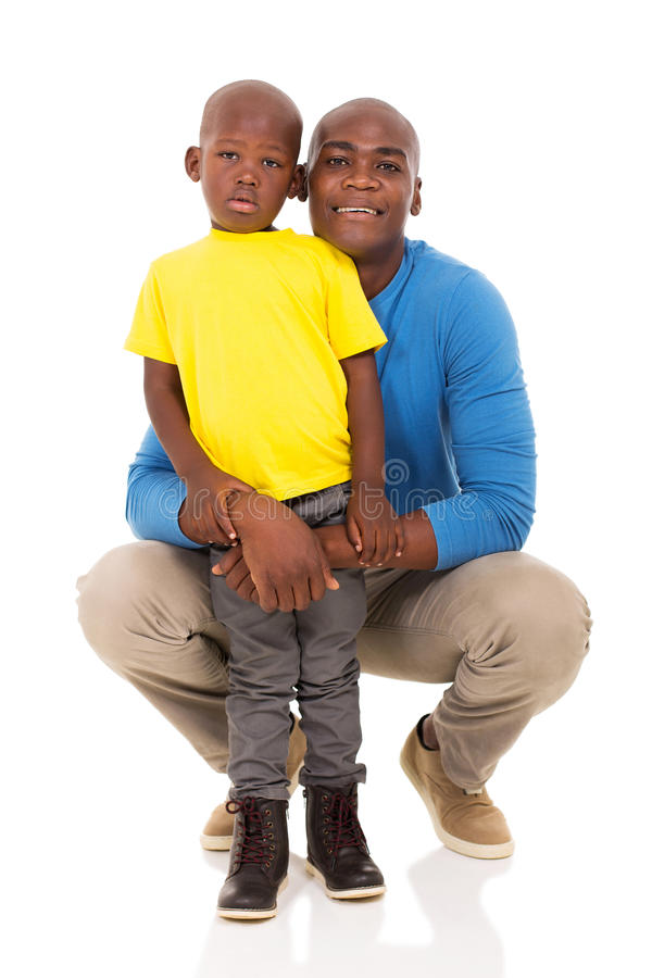 Man and son. African american men and son on white background royalty free stock photo