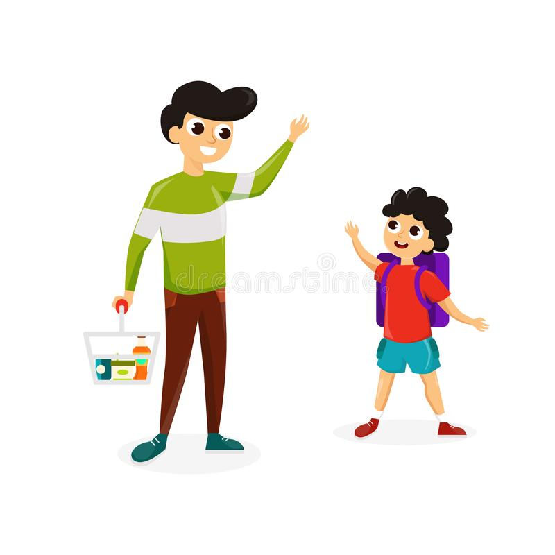 Man with son shopping vector illustration