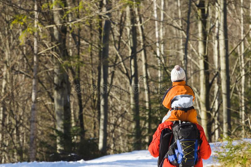 Man with son on shoulders walking along the road in a snowy forest. Winter. Day royalty free stock photography