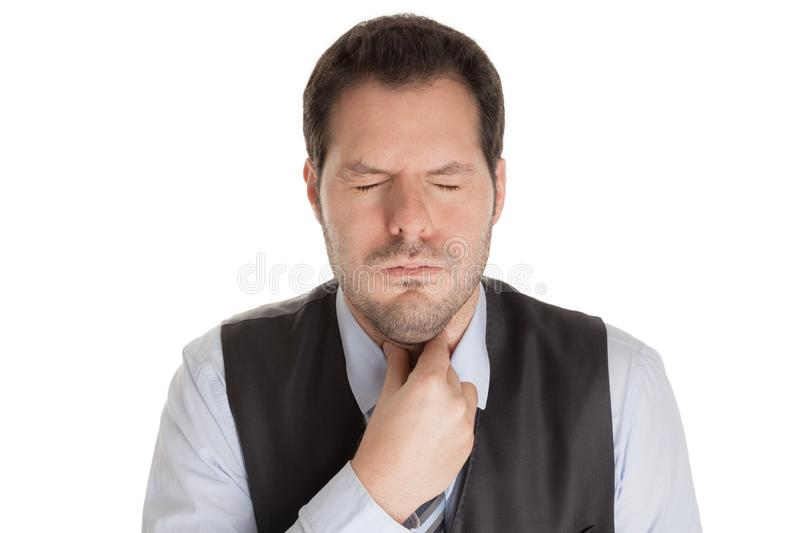 Man with sore throat isolated on white background. Disease, influenza and infection concept royalty free stock photography