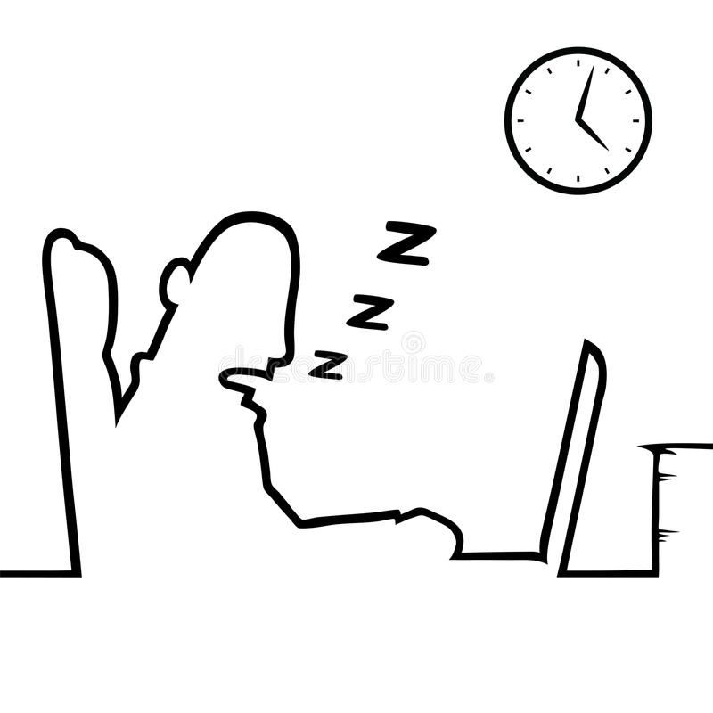 Man sovande på arbete royaltyfri illustrationer