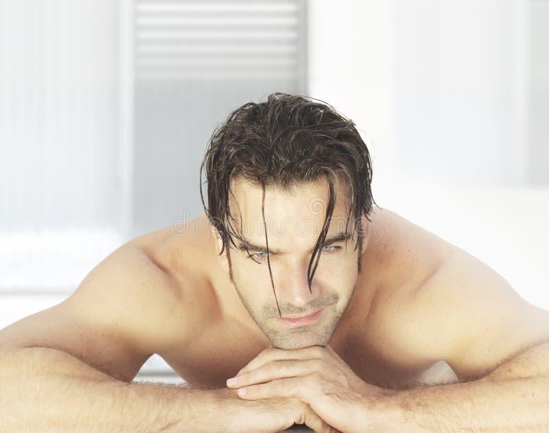 Man in spa stock photos