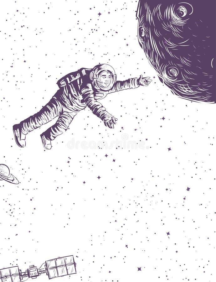 Man in spacesuit flies to planet. Doodle sketch illustration cosmonautics day vector illustration